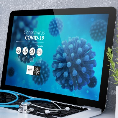 Computer with COVID-19 Info